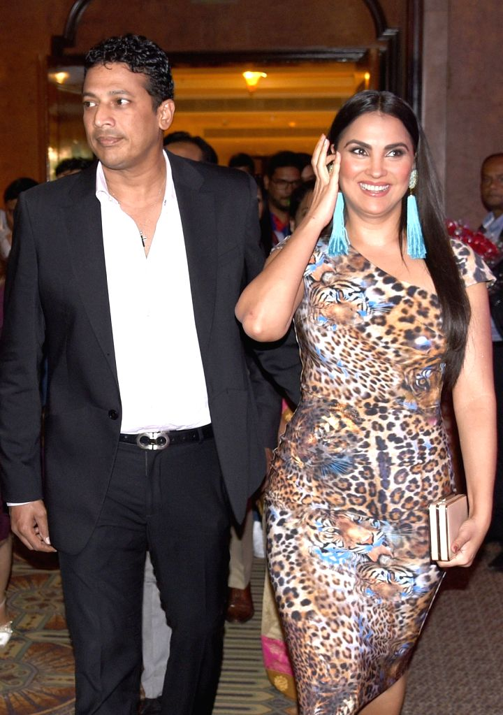 Actress Lara Dutta and her husband former tennis player Mahesh Bhupati at a press conference in Bengaluru, on Dec 5, 2018. - Lara Dutta