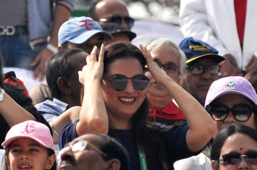 Actress Lara Dutta during Davis Cup World Group rubber between India and Italy in Kolkta on Feb 1, 2019. - Lara Dutta