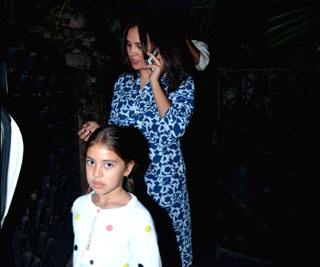 Actress Lara Dutta seen with her daughter at Bandra in Mumbai on Jan 31, 2019. - Lara Dutta