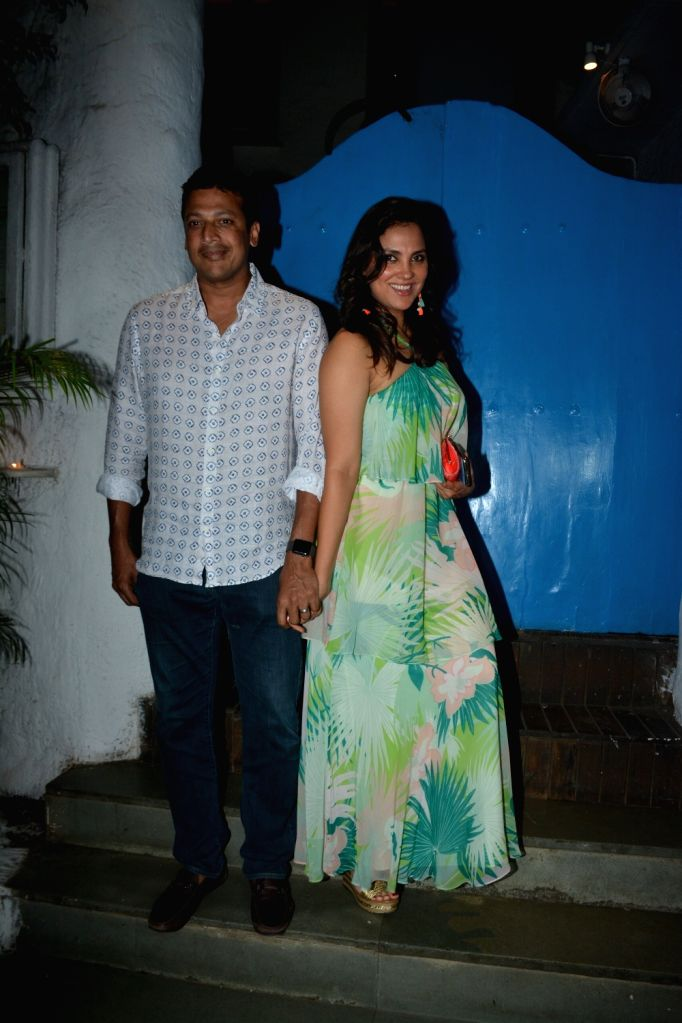 Actress Lara Dutta with her husband Mahesh Bhupathi seen in Mumbai's Bandra, on March 3, 2019. - Lara Dutta and Mahesh Bhupathi