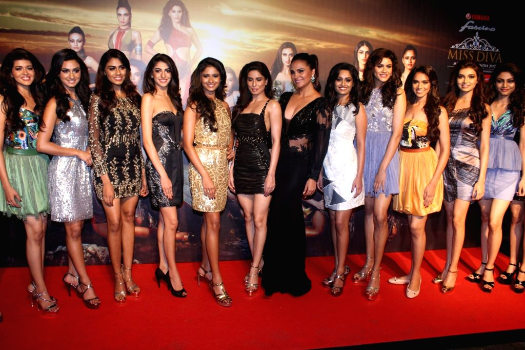 "Actress Lara Dutta with models at the star studded red carpet of ""Miss Diva 2017"" in Mumbai on Sept 18, 2017. - Lara Dutta"