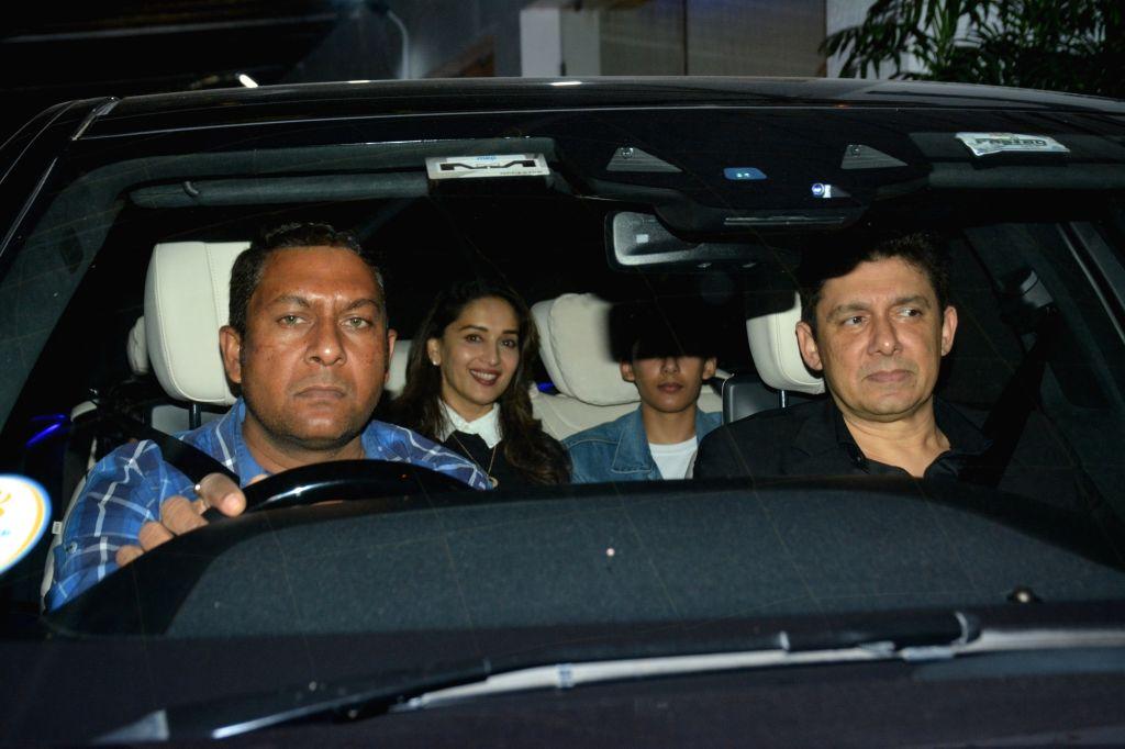 Actress Madhuri Dixit along with her husband Sriram Nene seen at Sunny Super Sound studio in Mumbai on Feb 24, 2019. - Madhuri Dixit