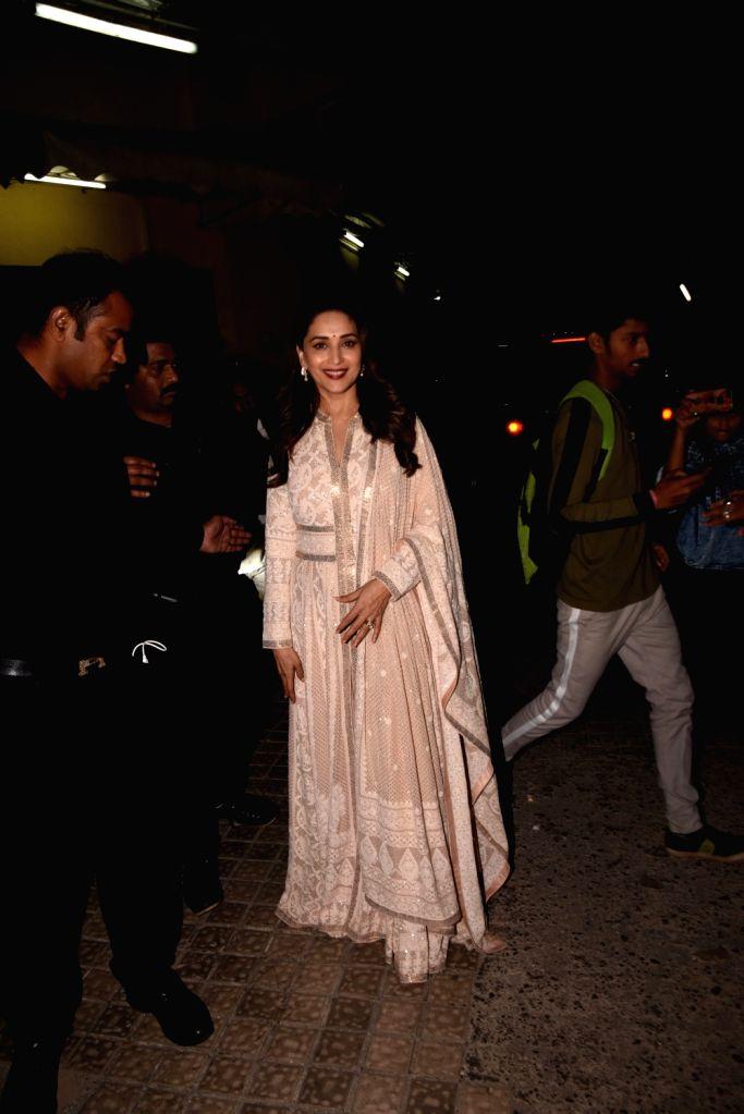 """Actress Madhuri Dixit at the screening of her upcoming film """"Kalank"""", in Mumbai on April 14, 2019. - Madhuri Dixit"""