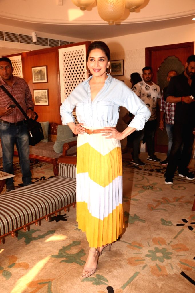 "Actress Madhuri Dixit during press conference regarding her upcoming film ""Total Dhamaal"" in Mumbai, on Feb 13, 2019. - Madhuri Dixit"