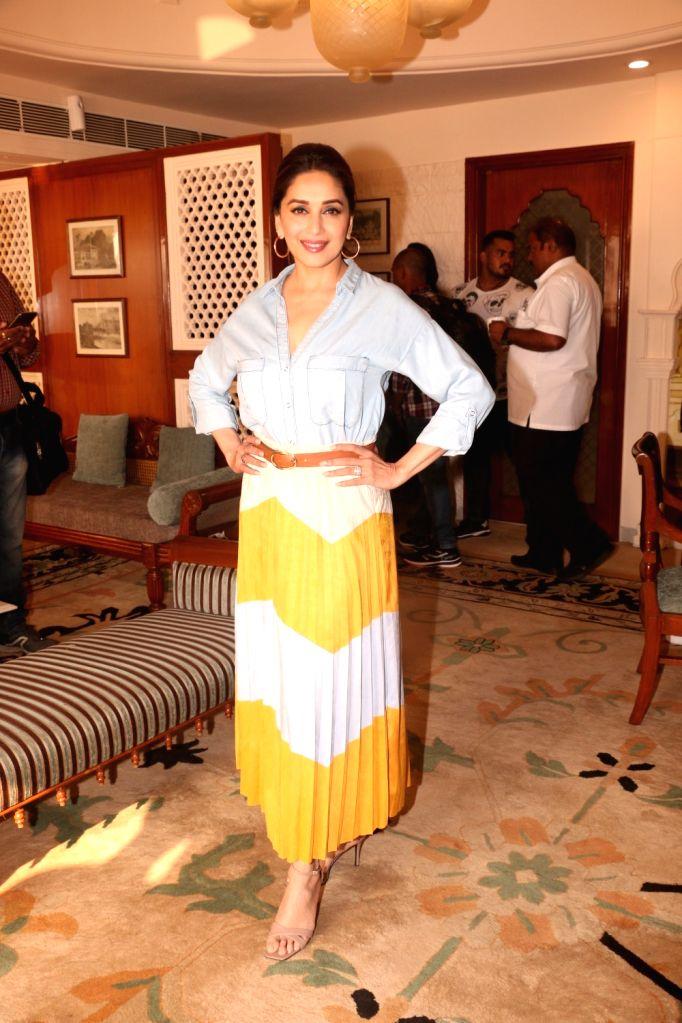 "Actress Madhuri Dixit during press conference regarding her upcoming film ""Total Dhamaal"" in Mumbai, on Feb 13, 2019. - Madhuri Dixit"