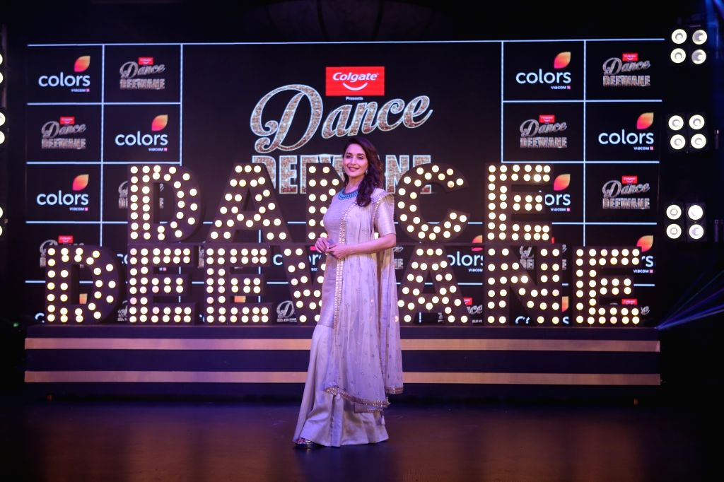 "Actress Madhuri Dixit Nene at the launch of season 2 of dance reality show ""Dance Deewane"" in Mumbai on May 26, 2019. - Madhuri Dixit Nene"
