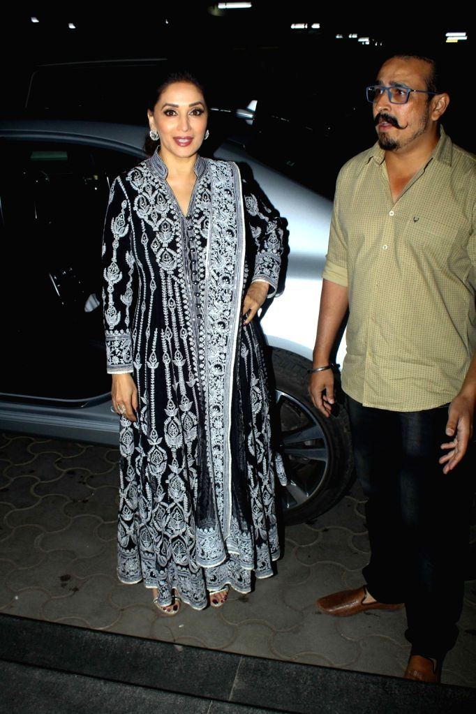 "Actress Madhuri Dixit Nene at the special screening of film ""Aapla Manus"" in Mumbai on Feb 9, 2018. - Madhuri Dixit Nene"