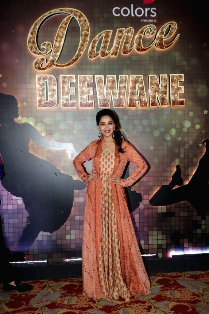 "Actress Madhuri Dixit Nene during a interview regarding her dance reality show ""Dance Deewane"" in Mumbai on May 24, 2018. - Madhuri Dixit Nene"