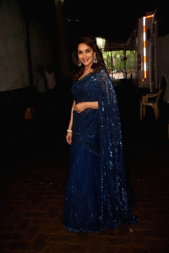 "Actress Madhuri Dixit Nene on the sets of reality television show ""Dance Deewane"" in Mumbai on July 10, 2018. - Madhuri Dixit Nene"
