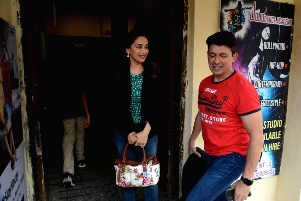 "Actress Madhuri Dixit  with her husband Sriram Madhav Nene at the screening of the film ""Avengers: Endgame"" in Mumbai on April 27, 2019. - Madhuri Dixit"