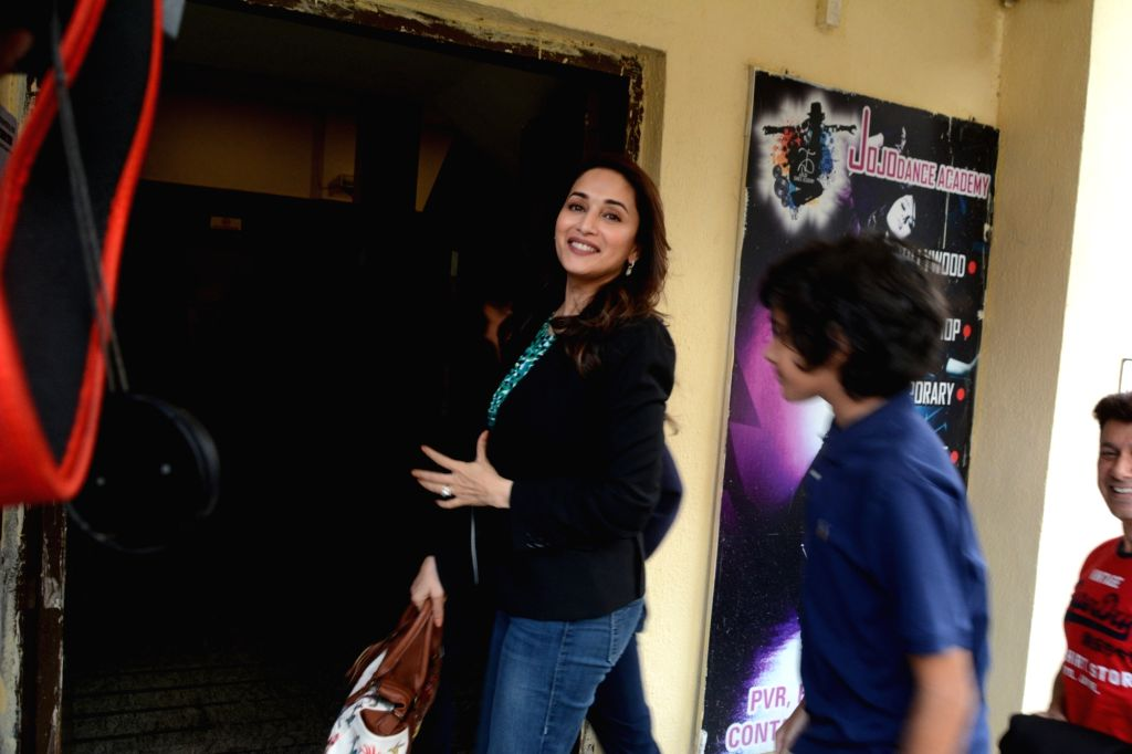 "Actress Madhuri Dixit with her son at the screening of the film ""Avengers: Endgame"" in Mumbai on April 27, 2019. - Madhuri Dixit"