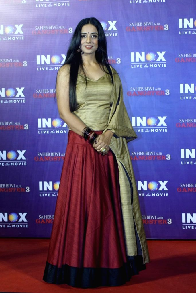 """Actress Mahie Gill at the promotion of her upcoming film """"Saheb Biwi Aur Gangster 3"""" in Mumbai on July 23, 2018. - Mahie Gill"""