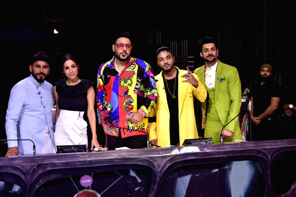 Actress Malaika Arora and rapper Badshah with Dance India Dance Season 7 judges - rapper Raftaar and choreographer Bosco Martis, in Mumbai on July 18, 2019. - Malaika Arora