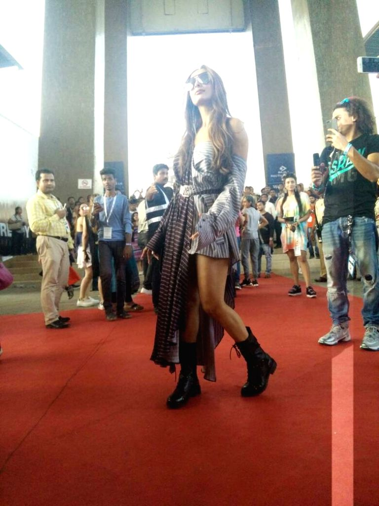 Actress Malaika Arora arrives to attend Justin Bieber's show at DY Patil Stadium in Mumbai, on May 10, 2017. - Malaika Arora