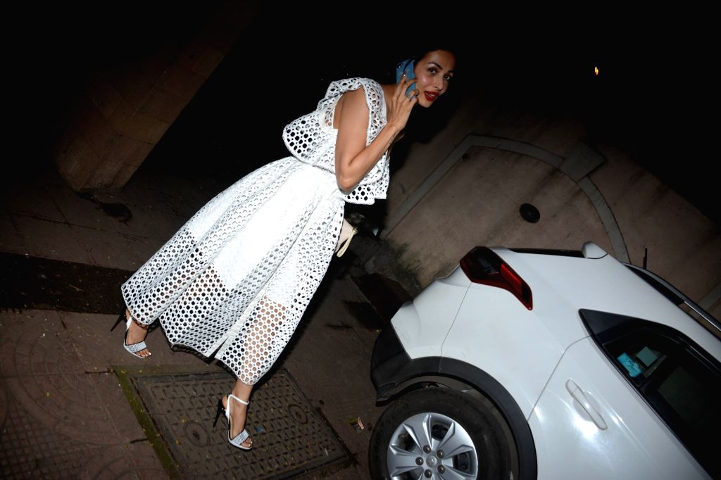Actress Malaika Arora during her mother birthday celebration in Mumbai on Aug 8, 2018. - Malaika Arora