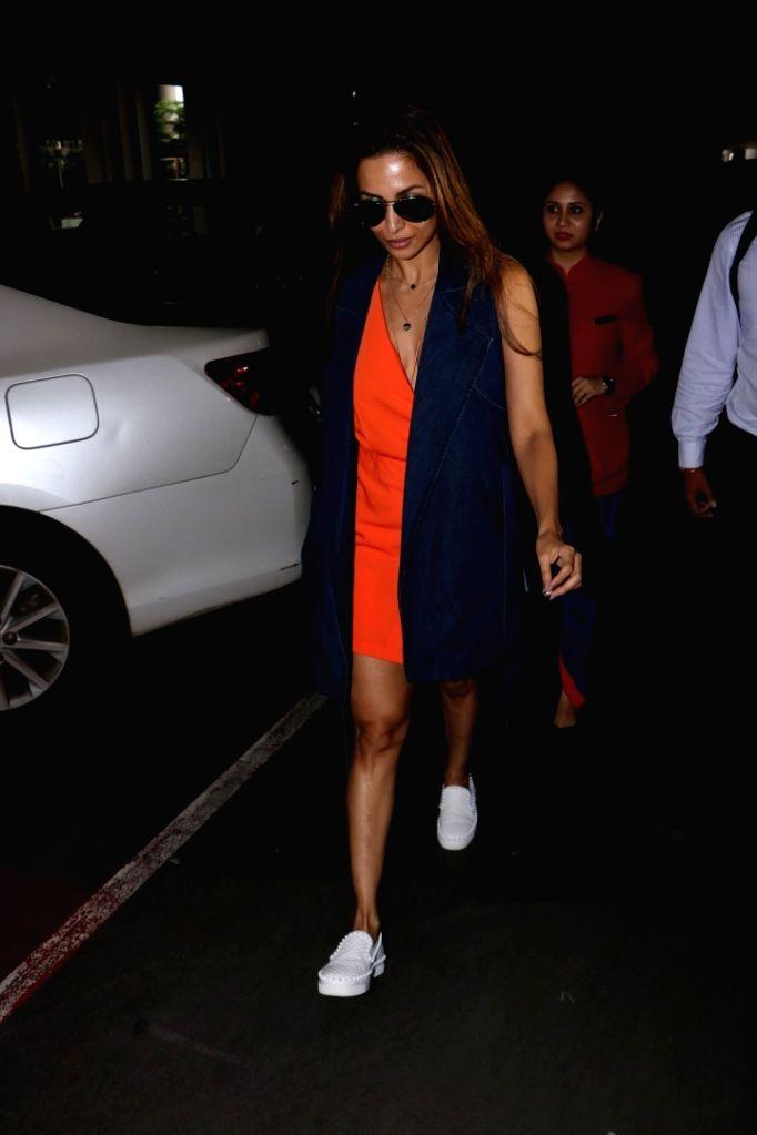 Actress Malaika Arora Khan at Chhatrapati Shivaji International Airport in Mumbai, on July 3, 2017. - Malaika Arora Khan