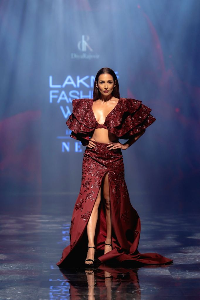 Actress Malaika Arora walks the ramp for fashion designer Diya Rajvir on Day 5 of the Lakme Fashion Week Winter/Festive 2019 in Mumbai. - Malaika Arora
