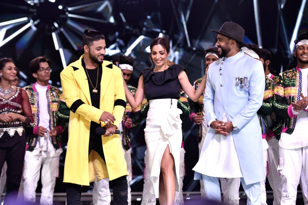 Actress Malaika Arora with Dance India Dance Season 7 judges - rapper Raftaar and choreographer Bosco Martis, in Mumbai on July 18, 2019. - Malaika Arora