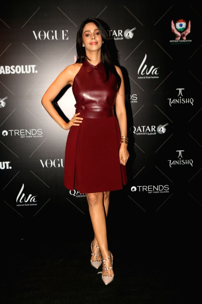 "Actress Mallika Sherawat at the red carpet of ""Vogue Beauty Awards"" in Mumbai on July 31, 2018. - Mallika Sherawat"