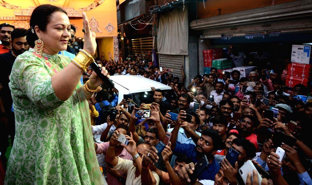 Actress Mandakini during a programme organised on the eve of Kali Puja in Kolkata on Oct 26, 2019. - Mandakini