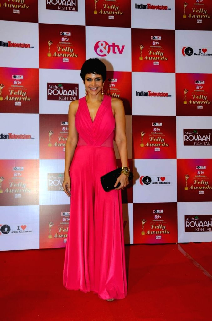 Actress Mandira Bedi during the 14th Indian Telly Awards in Mumbai, on Nov 28, 2015. - Mandira Bedi