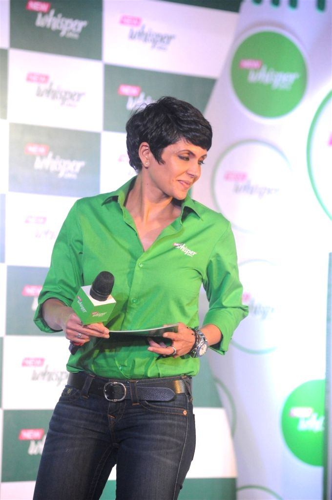 Actress Mandira Bedi during the launch of the New Whisper Ultra in Mumbai on Jan13, 2016. - Mandira Bedi