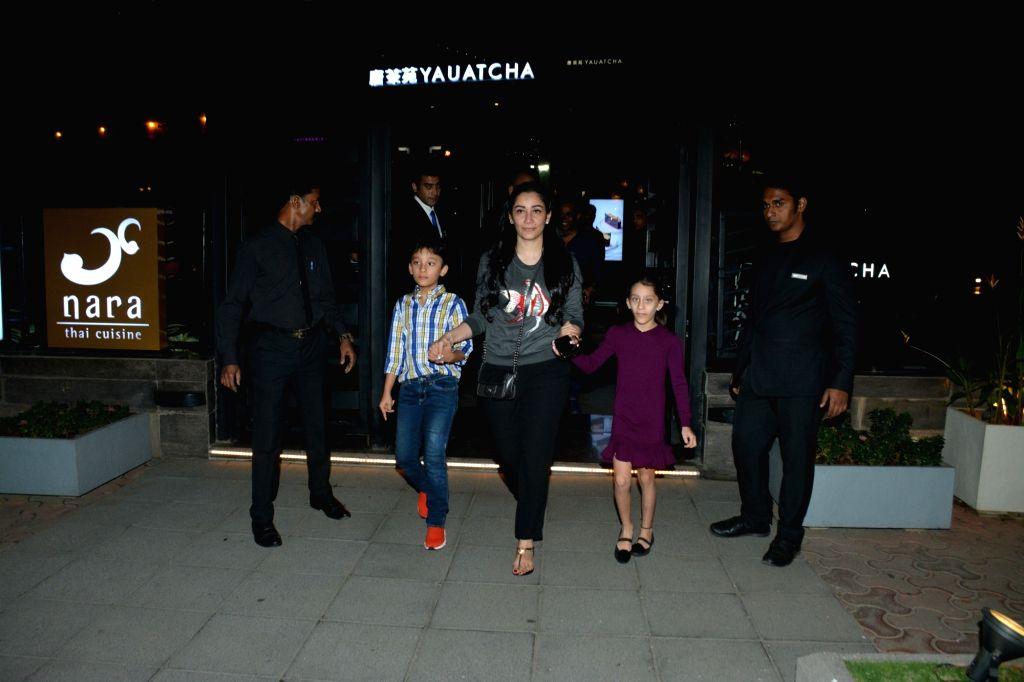 Actress Manyata Dutt along with her daughter Iqra Dutt and son Shahraan Dutt seen at a Mumbai restaurant on Feb 20, 2019. - Manyata Dutt, Iqra Dutt and Shahraan Dutt