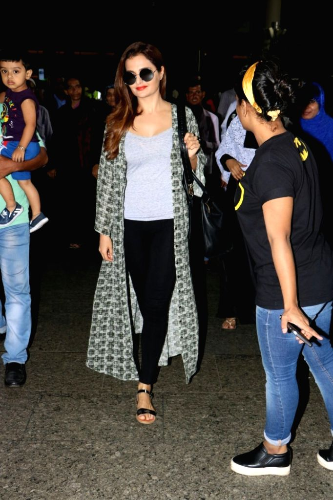Actress Monica Bedi spotted at airport in Mumbai, on Aug 20, 2017. - Monica Bedi