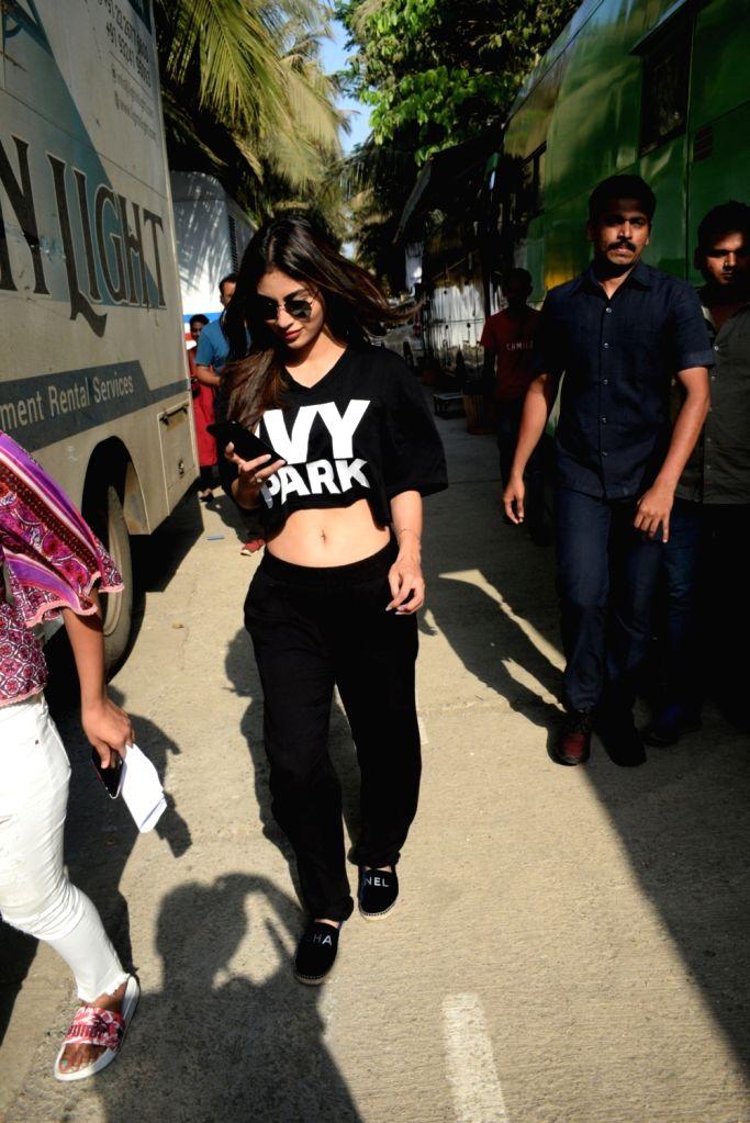 Actress Mouni Roy during a film shoot at Madh Island in Mumbai , on April 12, 2019. - Mouni Roy