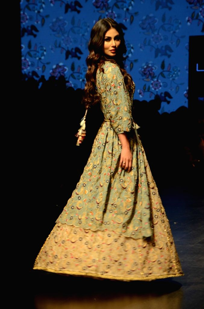 Actress Mouni Roy walks the ramp in fashion designer Payal Singhal's creation at Lakme Fashion Week (LFW) Summer/Resort 2019 in Mumbai, on Feb 1, 2019. - Mouni Roy