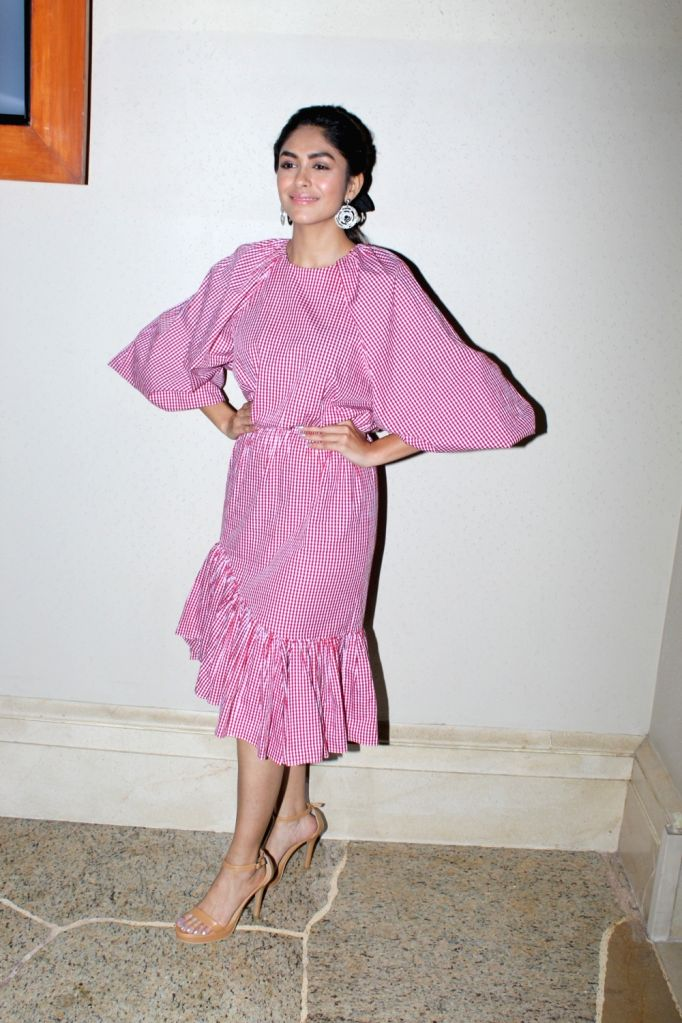 """Actress Mrunal Thakur during the promotions of her upcoming film """"Batla House"""" in Mumbai on Aug 9, 2019. - Mrunal Thakur"""