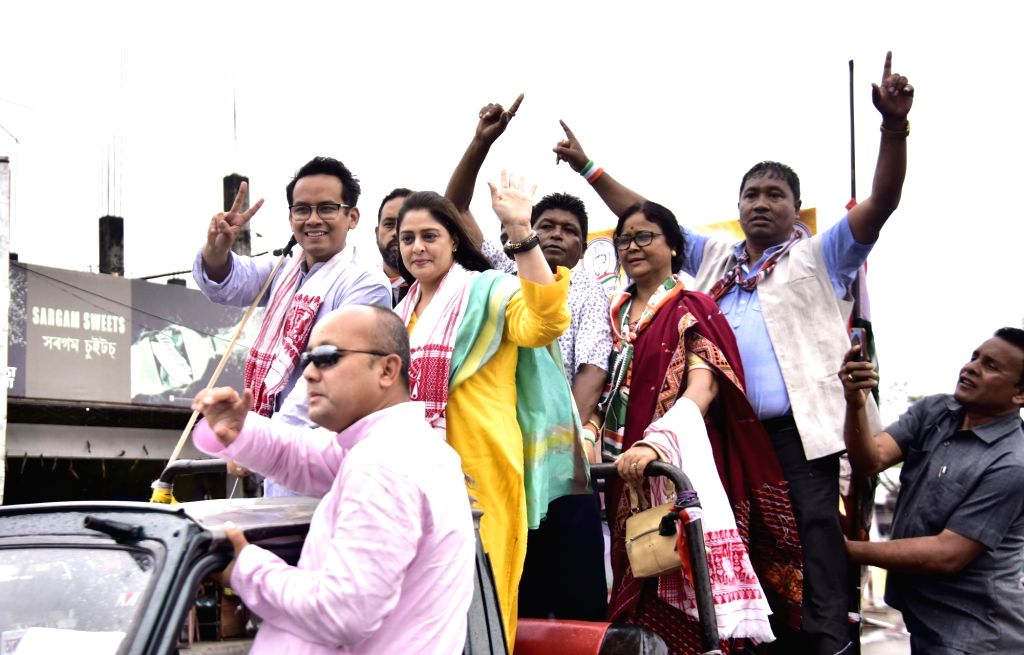 Actress Nagma campaigns for Congress candidate from Koliabor Lok Sabha constituency Gaurav Gogoi during an election rally ahead of the Lok Sabha elections at Bokakhat in Golaghat District ... - Nagma