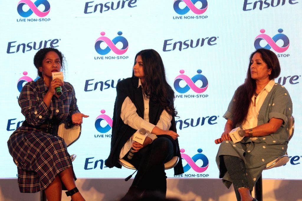 Actress Neena Gupta with producer Rhea Kapoor and Masaba Gupta during a programme in Mumbai on April 25, 2017. - Neena Gupta, Kapoor and Masaba Gupta