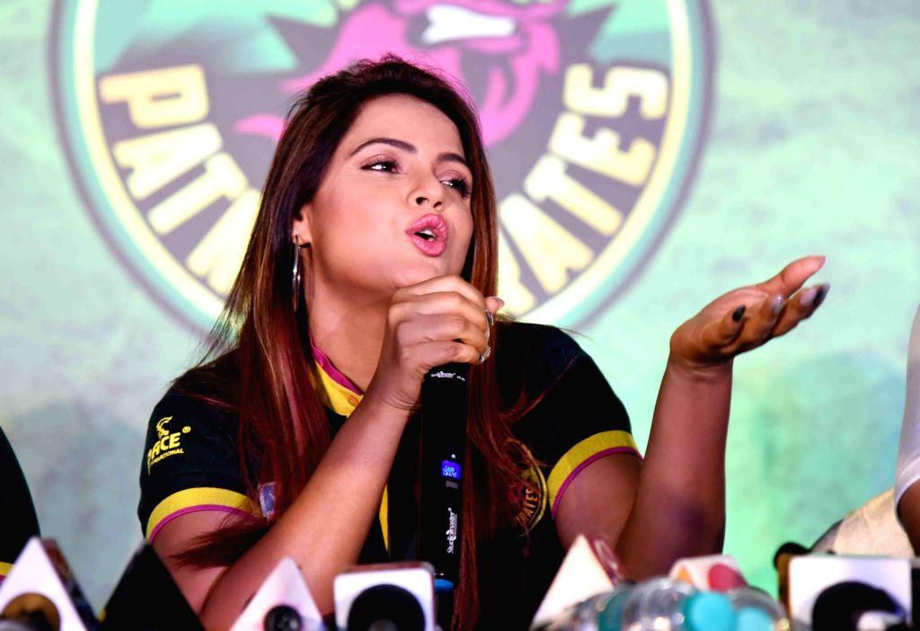 Actress Neetu Chandra during a press conference in Patna on Aug 2, 2019. - Neetu Chandra