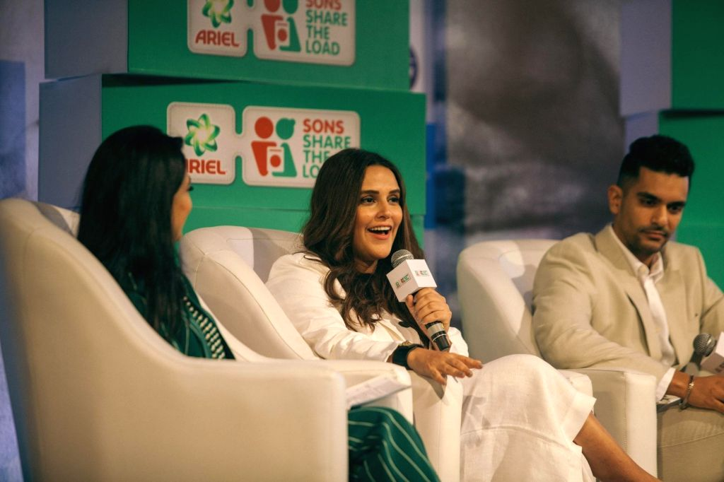 Actress Neha Dhupia and her husband Angad Bedi discuss what it means to share the load and enable each other's success as part of a panel discussion at P&G India's inaugural # WeSeeEqual ... - Neha Dhupia and Angad Bedi