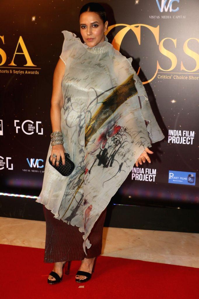 Actress Neha Dhupia at the red carpet of Critics' Choice Awards in Mumbai on Dec 11, 2019. - Neha Dhupia