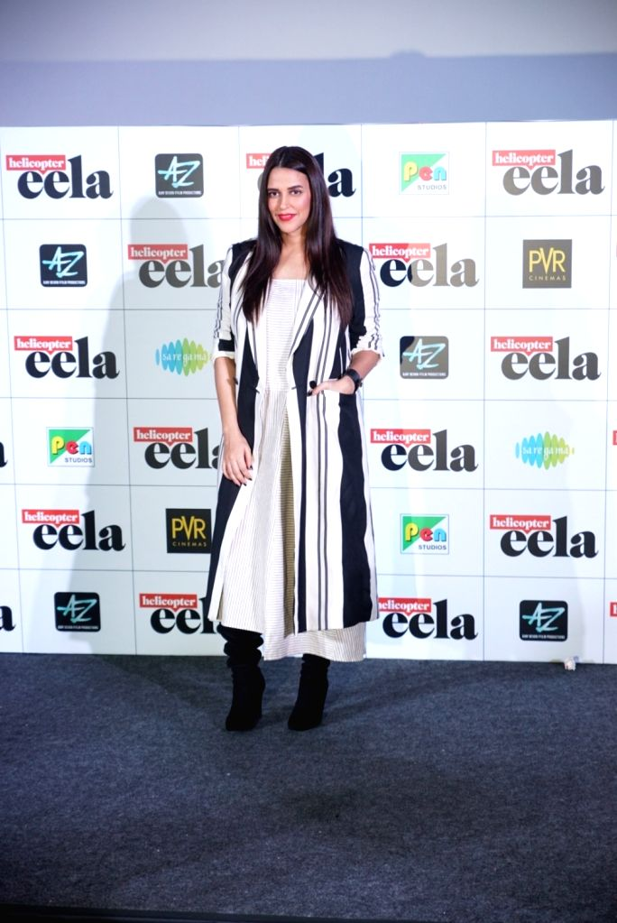 """Actress Neha Dhupia at the trailer launch of upcoming film """"Helicopter Eela"""" in Mumbai, on Aug 5, 2018. - Neha Dhupia"""