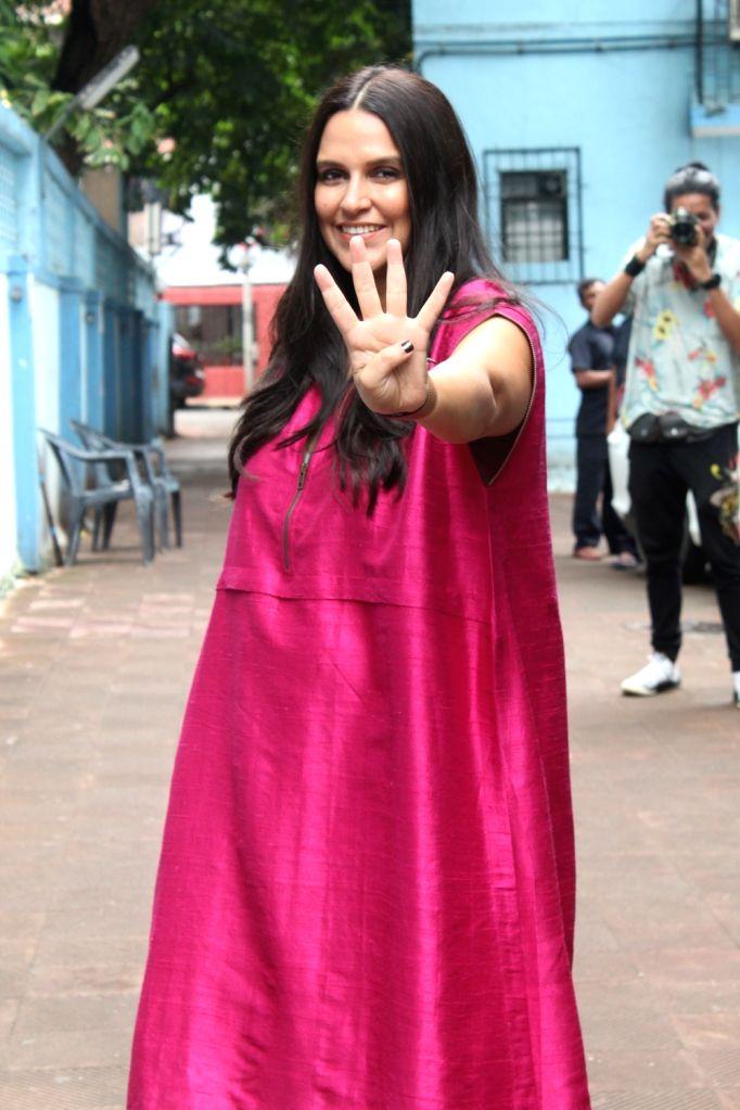"Actress Neha Dhupia before shooting of her show ""No Filter Neha 4"" in Mumbai on Oct 26, 2019. - Neha Dhupia"
