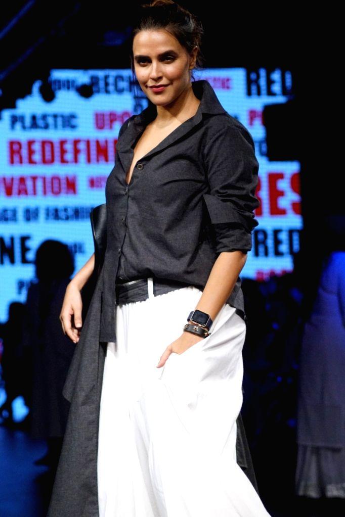 Actress Neha Dhupia during the Lakme Fashion Week 2017 in Mumbai on Aug 17, 2017. - Neha Dhupia