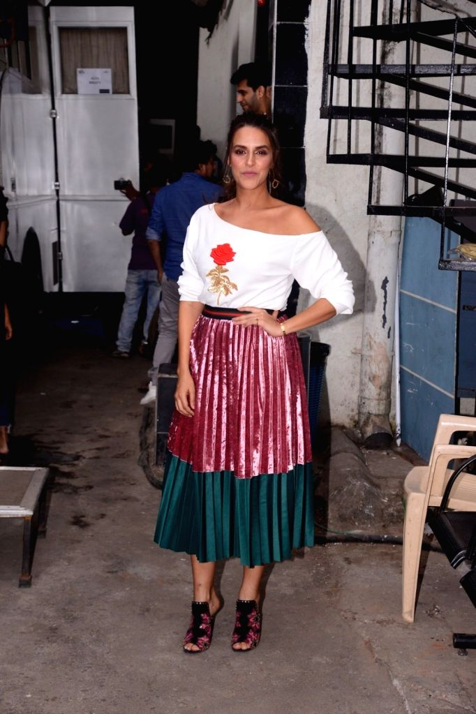 "Actress Neha Dhupia on the sets of television reality show ""Vogue BFFs"" season two in Mumbai on Dec 4, 2017. - Neha Dhupia"