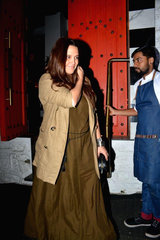 Actress Neha Dhupia seen at a Mumbai restaurant on Feb 10, 2019. - Neha Dhupia