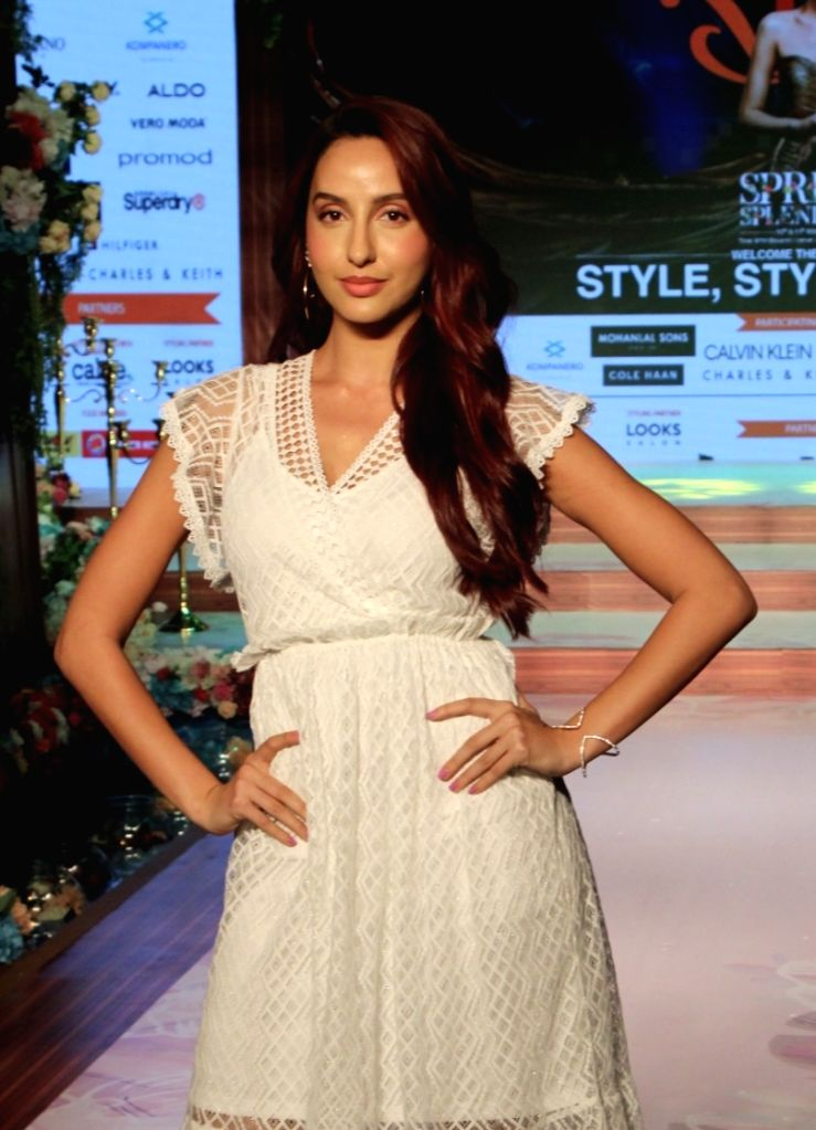 Actress Nora Fatehi during a fashion show in Noida, on May 10, 2019. - Nora Fatehi
