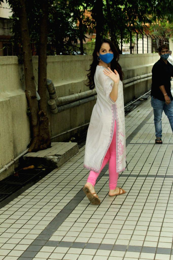 Actress Nora Fatehi seen at the office of T-Series in Mumbai's Andheri on Sep 15, 2020. - Nora Fatehi
