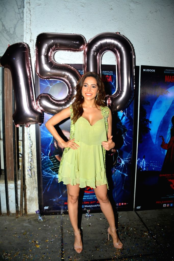 "Actress Nushrat Bharucha at success party of film ""Stree"" in Mumbai on Sept 18, 2018. - Nushrat Bharucha"