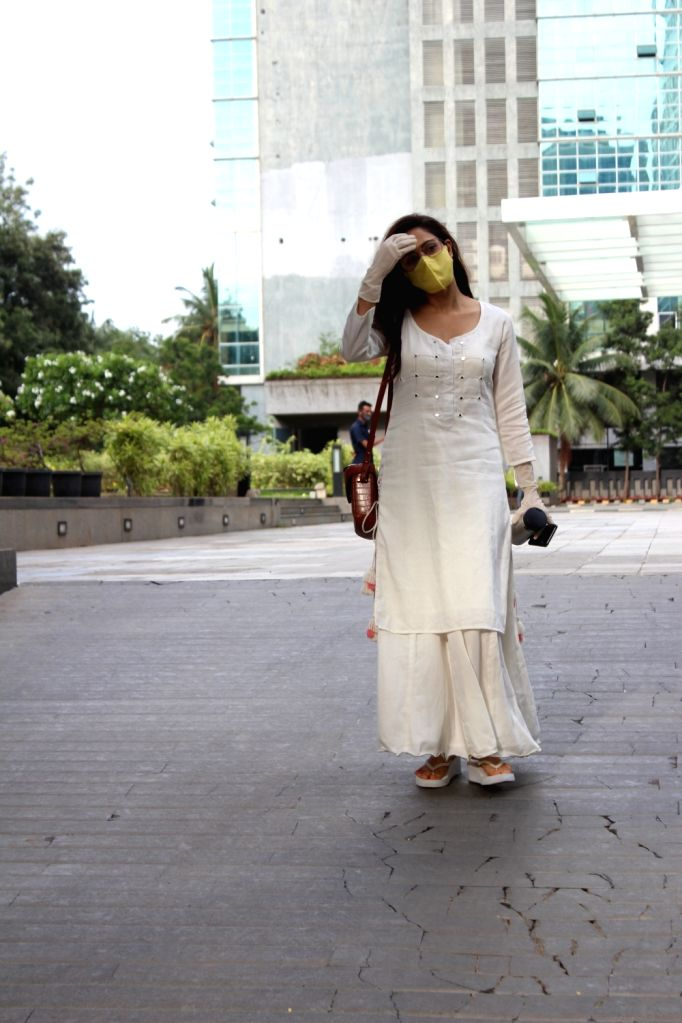Actress Nushrat Bharucha seen at a dubbing studio in Mumbai's Andheri on June 26, 2020. - Nushrat Bharucha