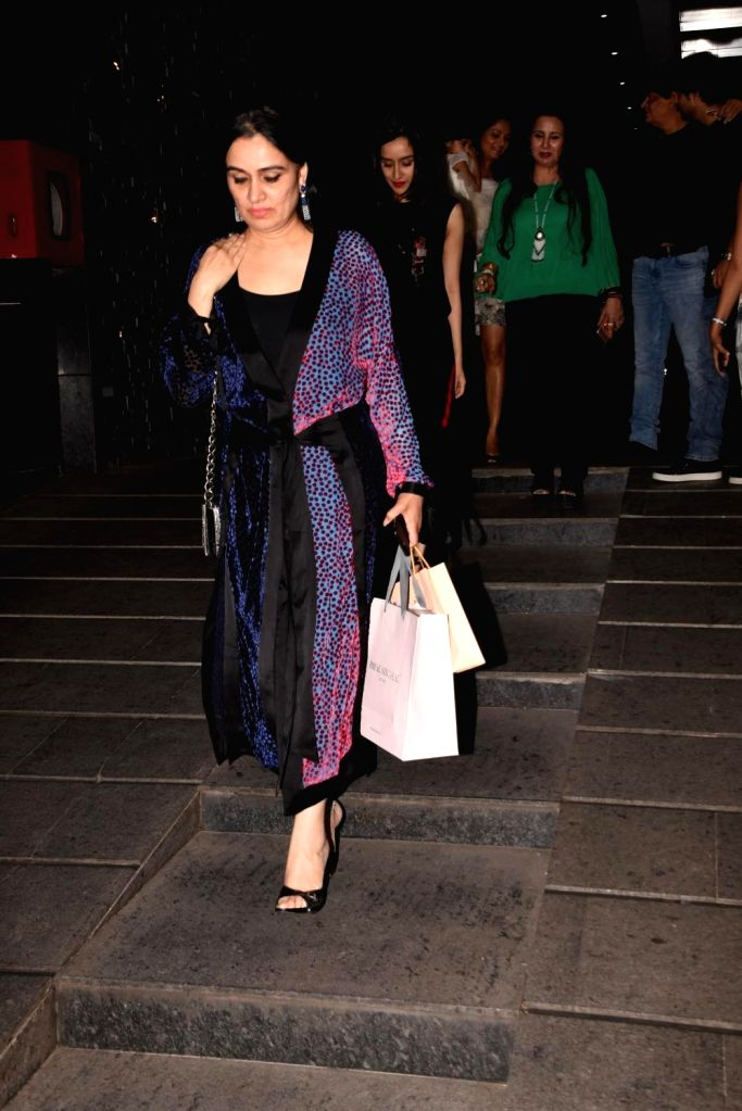 Actress Padmini Kohlapure during her birthday bash in Mumbai on Oct 31, 2018. - Padmini Kohlapure