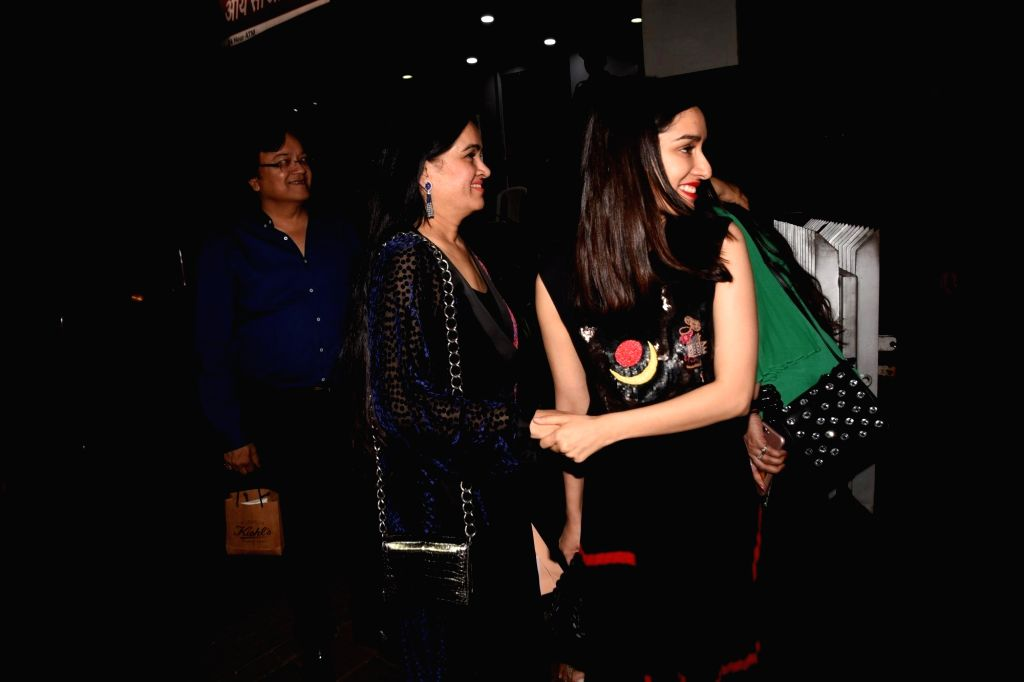 Actress Padmini Kohlapure with Shraddha Kapoor during her birthday bash in Mumbai on Oct 31, 2018. - Padmini Kohlapure and Shraddha Kapoor