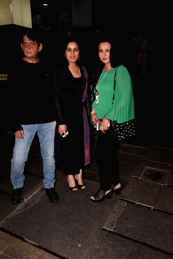 Actress Padmini Kolhapure with her husband Pradeep Sharma and actress Poonam Dhillon during her birthday bash in Mumbai on Oct 31, 2018. - Padmini Kolhapure and Pradeep Sharma