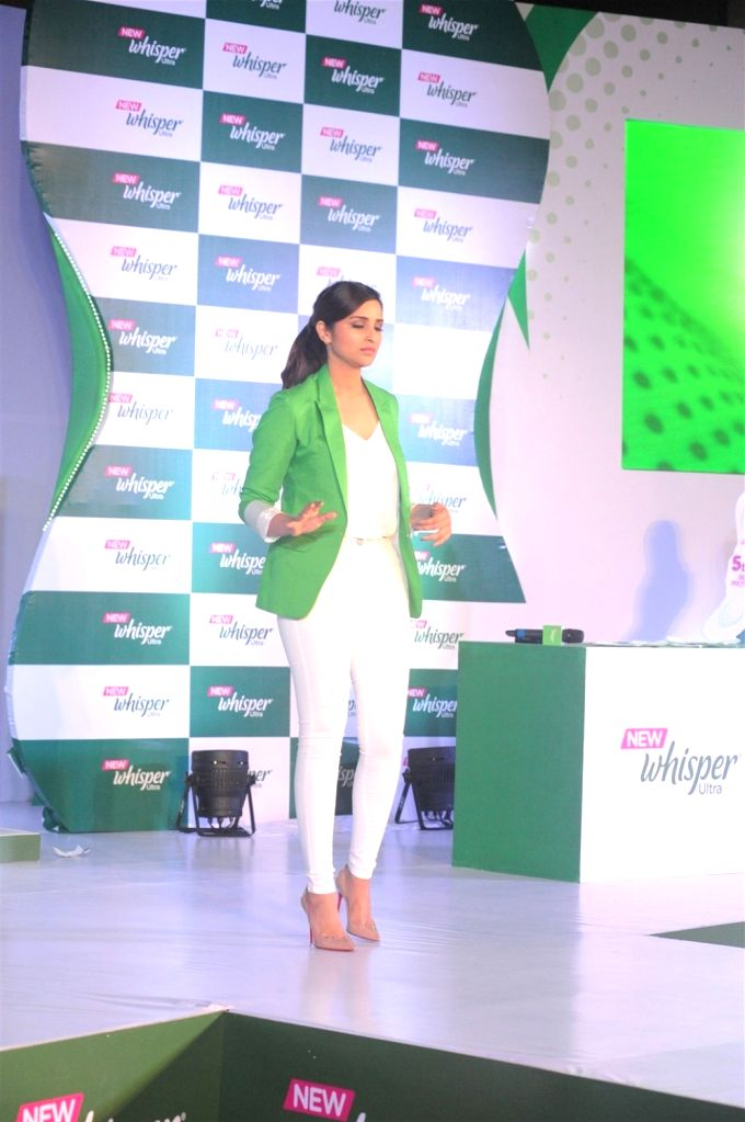 Actress Parineeti Chopra during the launch of the New Whisper Ultra in Mumbai on Jan13, 2016. - Parineeti Chopra