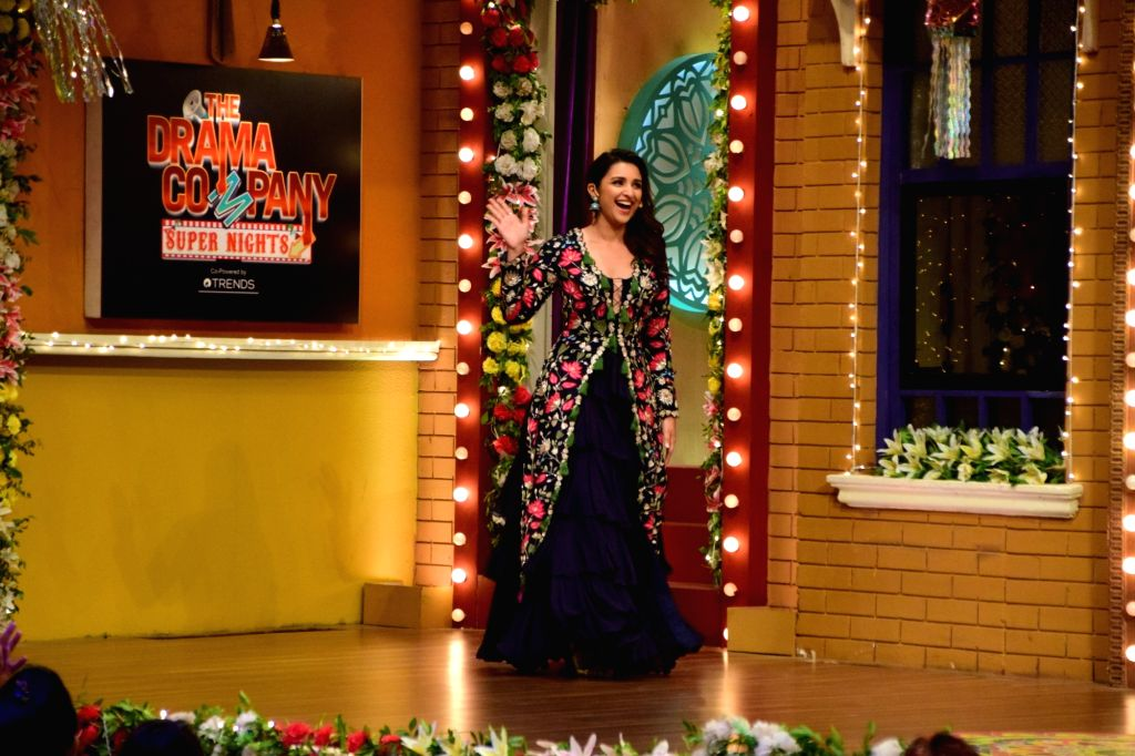 """Actress Parineeti Chopra during the promotion of her upcoming film """"Golmaal Again"""" on the sets of television show """"The Drama Company"""" in Mumbai on Oct 9, 2017. - Parineeti Chopra"""